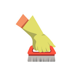 hand holding cleaning brush broom flat vector image vector image