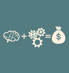 Idea concept braingearsbag of money vector