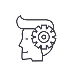 mind processman with gears line icon sign vector image