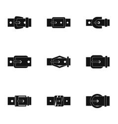 Modern belt buckle icon set simple style vector