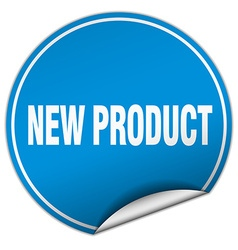 New product round blue sticker isolated on white vector