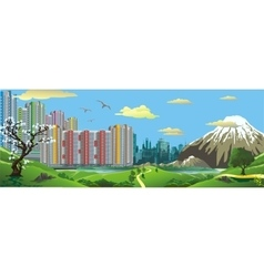 Panorama Landscape - the view from the hill at vector image vector image