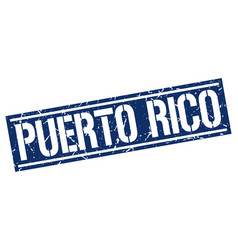 Puerto rico blue square stamp vector