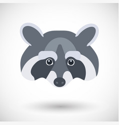 raccoon head flat icon vector image vector image