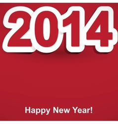 red and white Happy New Year 2014 vector image vector image