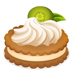 Sandwich cookie with cream and kiwi vector image