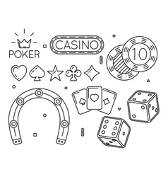 Set of casino and poker club line icons vector