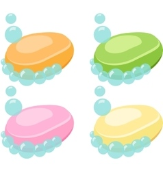 Set of soap bar with bubbles - vector