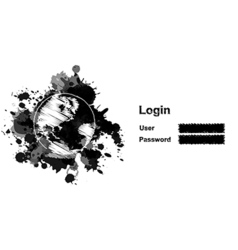 Sketch drawing globe and log in field vector