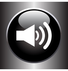 Speaker volume icon on black glass button vector image vector image