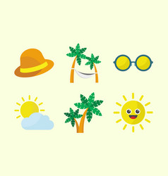 summer time icon set vector image