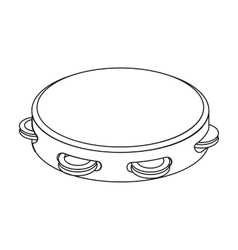 Tambourine icon in outline style isolated on white vector