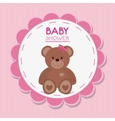 Teddy bear of baby shower card design vector