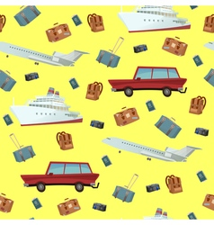 Traveling seamless pattern with car ship and plane vector
