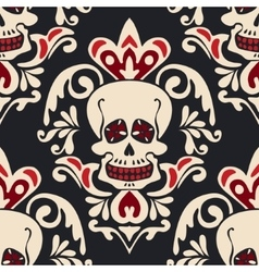Victorian Gothic skull Damask Pattern vector image