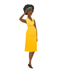 Young african pregnant woman scratching her head vector