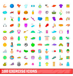 100 exercise icons set cartoon style vector