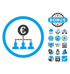 Euro payment clients flat icon with bonus vector