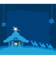 Birth of jesus in bethlehem card vector