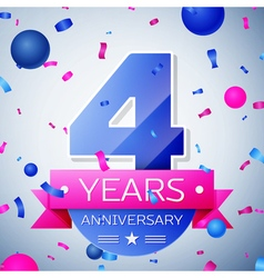Four years anniversary celebration on grey vector