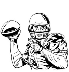 hand sketch of american football player vector image