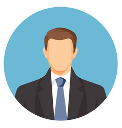 Faceless businessman avatar man in suit with blue vector