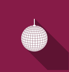 disco ball flat icon with long shadow vector image