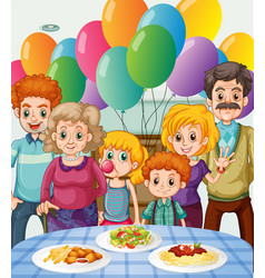 family having party at home vector image