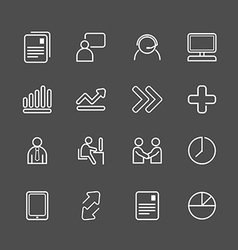 Business white line icons set vector