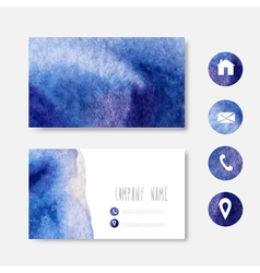 Watercolor business card vector