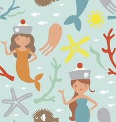 Seamless print with cute mermaids vector