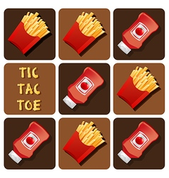 Tic-tac-toe of ketchup and fried potatoes vector