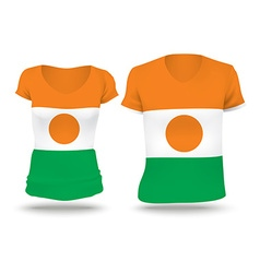 Flag shirt design of niger vector
