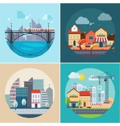 City and town landscapes buildings vector