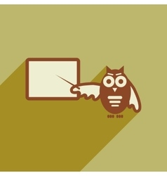 flat icon with long shadow owl teacher vector image