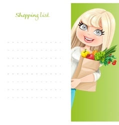 Cute blond girl with paper bag fresh fruits and vector