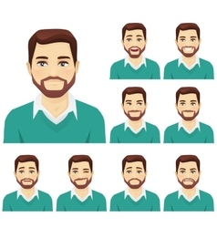 Beard man expression set vector image
