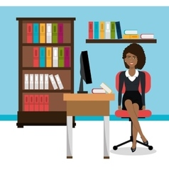 Business woman in workspace isolated icon design vector