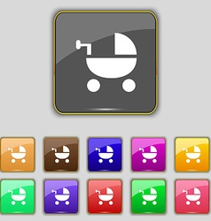 Baby stroller icon sign set with eleven colored vector