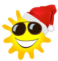 cartoon Christmas sun vector image vector image