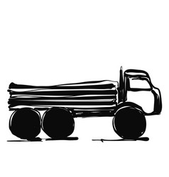 Delivery service hand drawn truck international vector