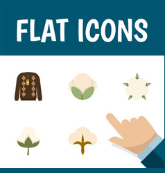 flat icon fiber set of fiber pullover fluffy and vector image vector image