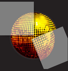 golden disco ball on black with two panels vector image vector image