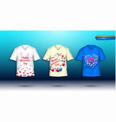 happy valentine day t shirts realistic vector image