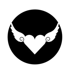 Heart love with wings romantic icon vector
