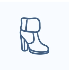 High-heeled ankle boot with fur sketch icon vector image vector image