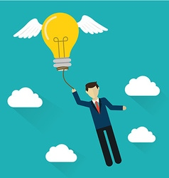 Idea concept flat design Business man with flying vector image vector image