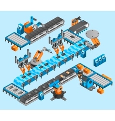 Industrial robot isometric concept vector image vector image