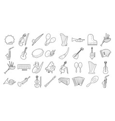 Musical instrument icon set outline style vector