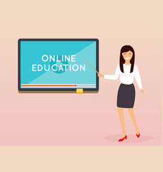 Online education concept teacher with tablet vector
